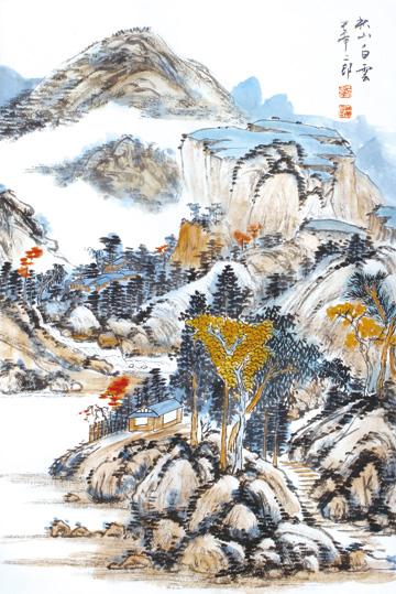 作品名称:《山水之道·刘二郎山水画十二册页》之秋山白云