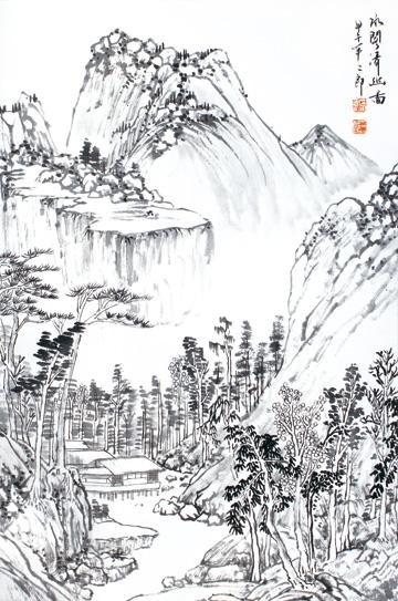 作品名称:《山水之道·刘二郎山水画十二册页》之水阁清幽图
