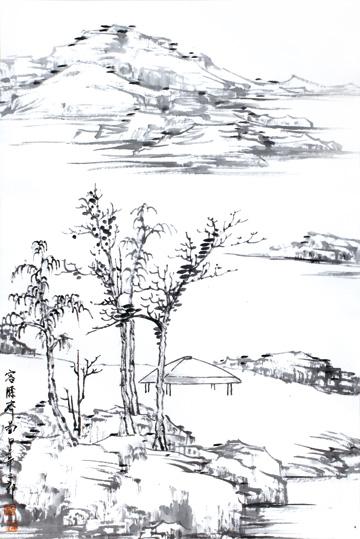 作品名称:《山水之道·刘二郎山水画十二册页》之容膝斋图