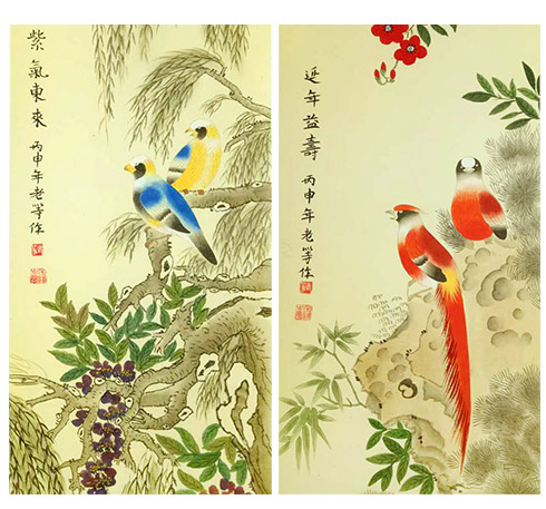 吉祥富贵工笔花鸟四条屏细节描写