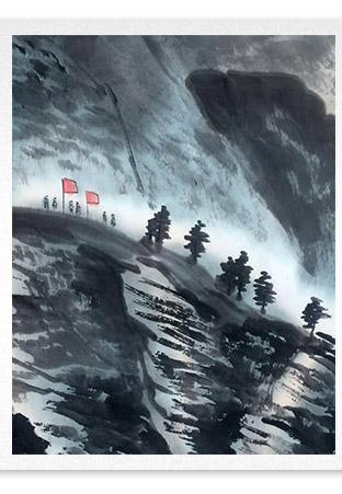 刘二郎作品主席诗意可染丹青之万里长征细节描写
