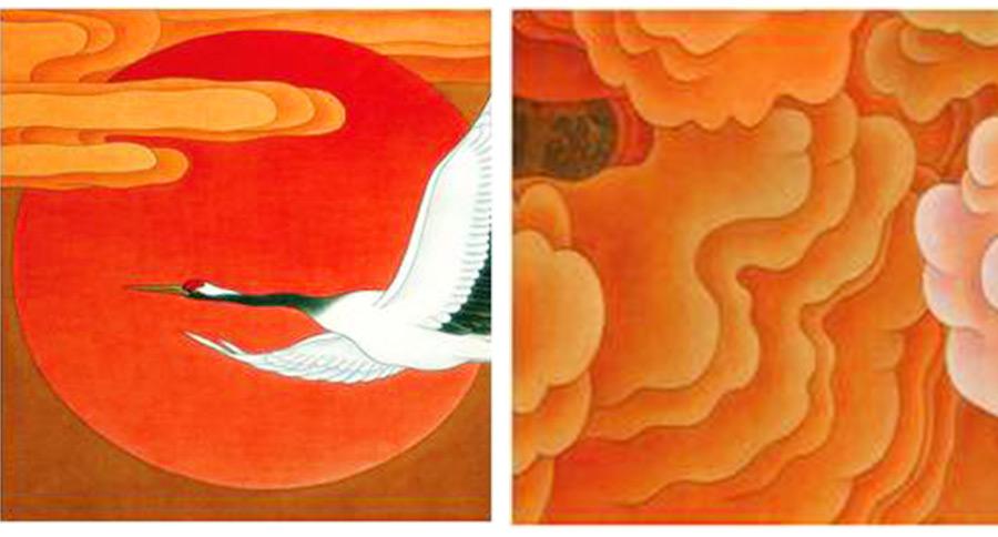 《鹤祥昌瑞》景泰蓝掐丝珐琅画细节描述图