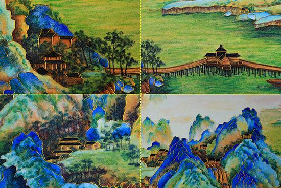掐丝珐琅画《千里江山图》细节展示图