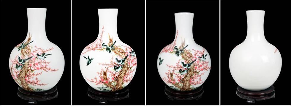 国瓷7501《水点桃花天球瓶》四面图案