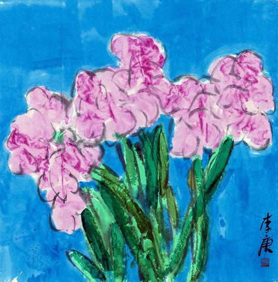 李庚书画作品 花卉写生之四 Flower 04 96×96CM纸本综合2016年