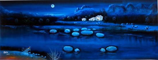 黄建南 油画 《蜜月》209x70cm