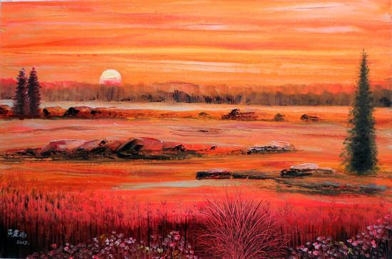 黄建南 油画 《不落的太阳》110x73cm