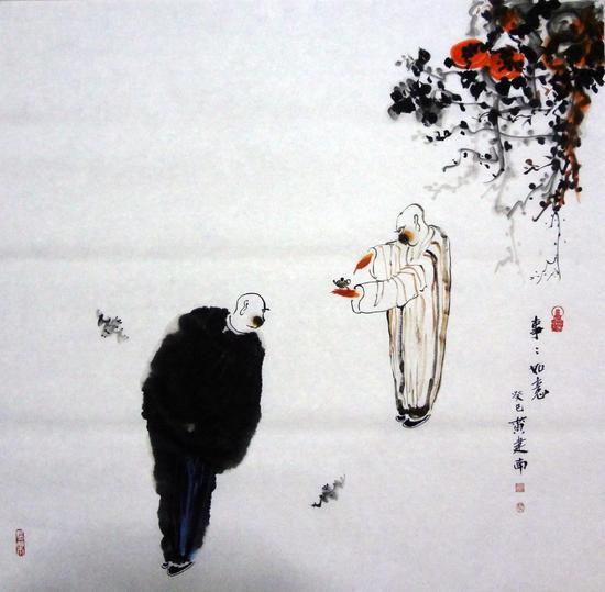 黄建南 禅艺国画 事事如意 68x68cm