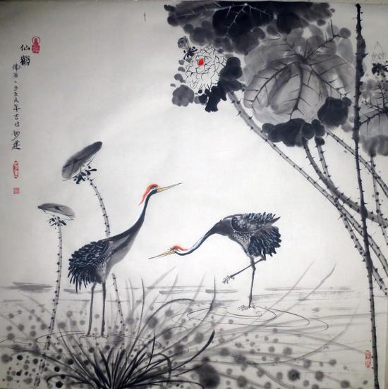 黄建南 禅艺国画 仙鹤 69x69cm