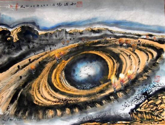 黄建南 国画  和谐 70x50cm