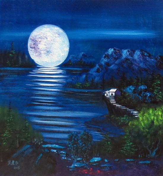 黄建南 油画《月亮长大了》70x70cm