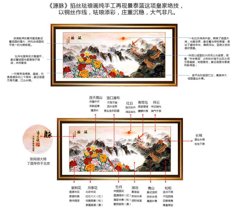 景泰蓝作品《源脉》掐丝珐琅铂晶画细节描述