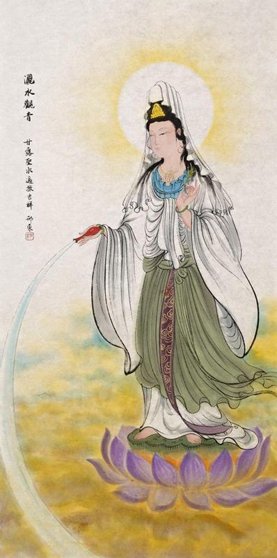 邢东国画作品《洒水观音》