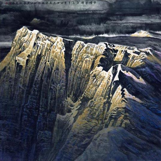 许钦松国画作品《雪峰金晖》