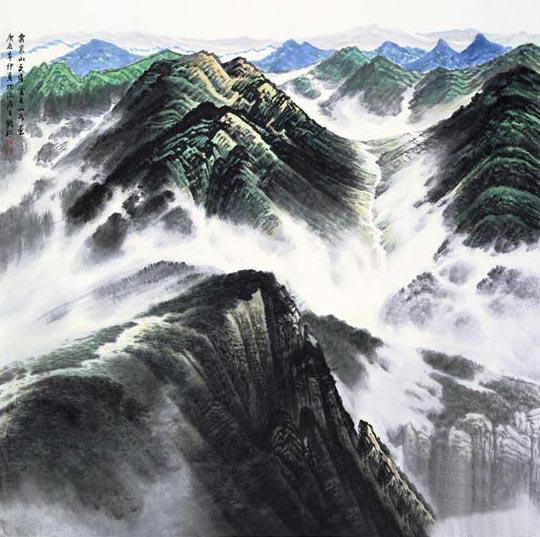 许钦松国画作品《云来山更佳》