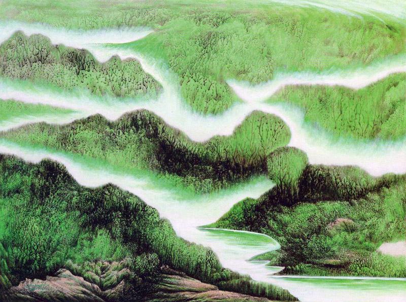 余作赋翠绿欲流胶墨山水画作品