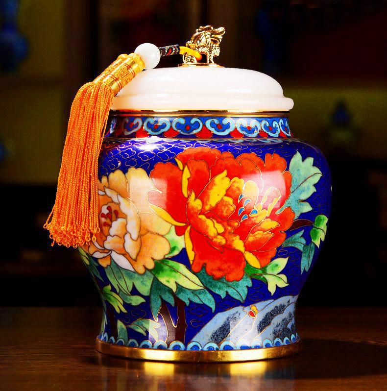 景泰蓝富贵人生茶叶罐