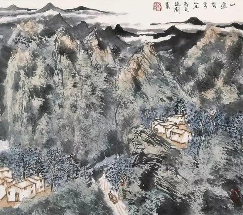 赵卫山水画作品山道弯弯