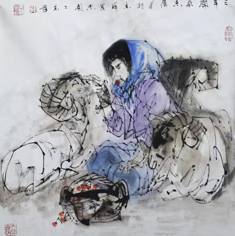画家于志学人物画作品三阳开泰