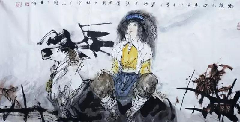 画家于志学人物画作品鄂族少女