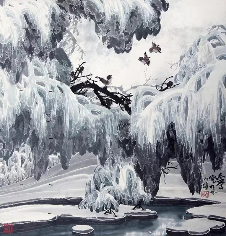 画家于志学山水画作品冰雪麻雀