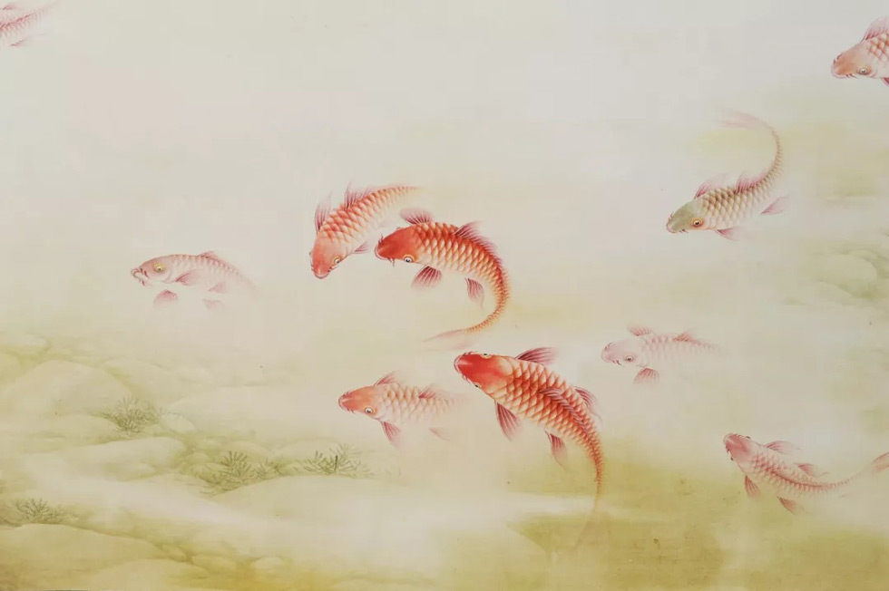 画家蓝健康国画作品龙鱼颂