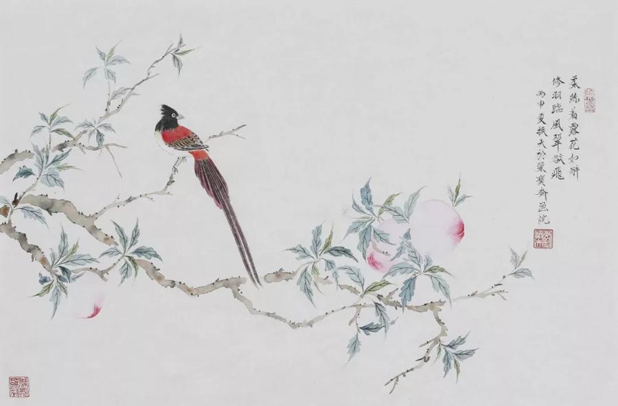 画家刘换天国画作品大寿图