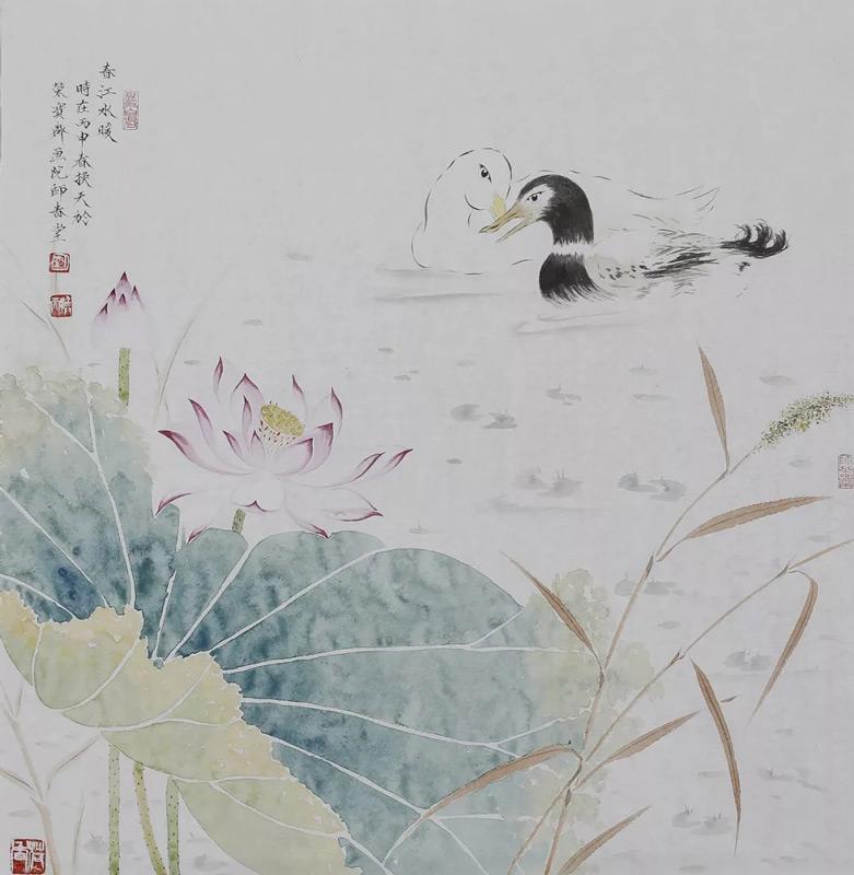 画家刘换天国画作品春江水暖