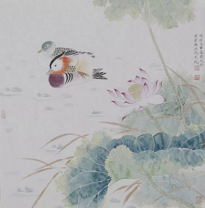 画家刘换天国画作品鸳鸯戏水