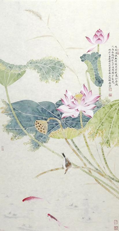 画家刘换天国画作品荷塘情趣