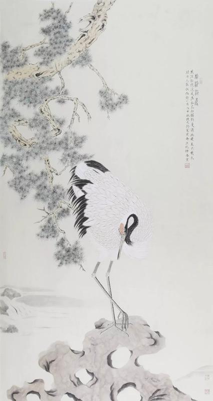 画家刘换天国画作品松龄鹤寿