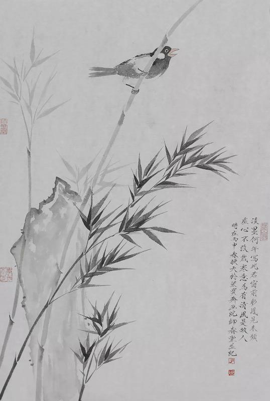 画家刘换天国画作品竹禽图