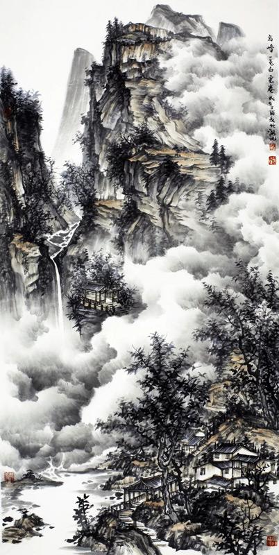 画家北海山水画作品高峰一色白云卷