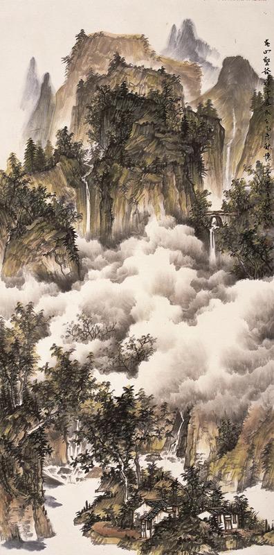 画家北海山水画作品春山壑谷祥云多