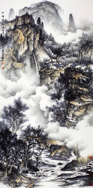 画家北海山水画作品仙峰瑞谷独往来