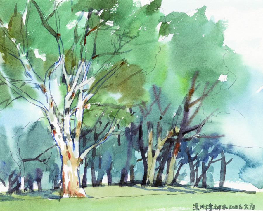 画家刘大为国画作品澳洲桉树林