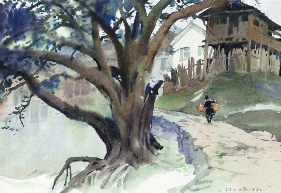 画家刘大为国画作品从江高增侗寨