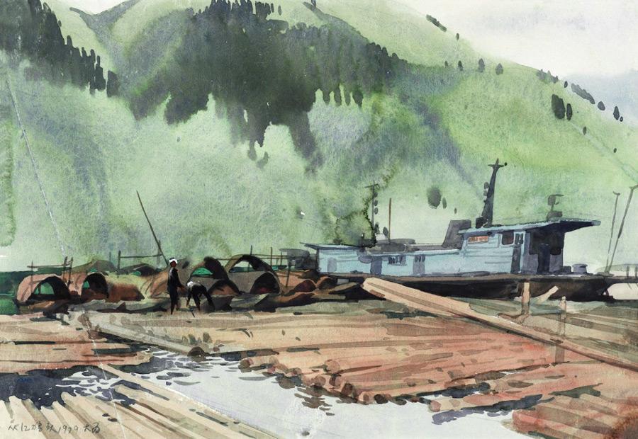 画家刘大为国画作品从江木排