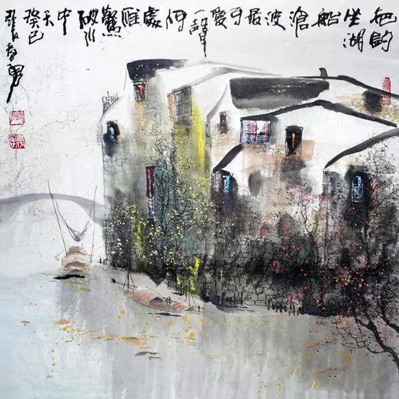 画家张孝勇山水画作品游船