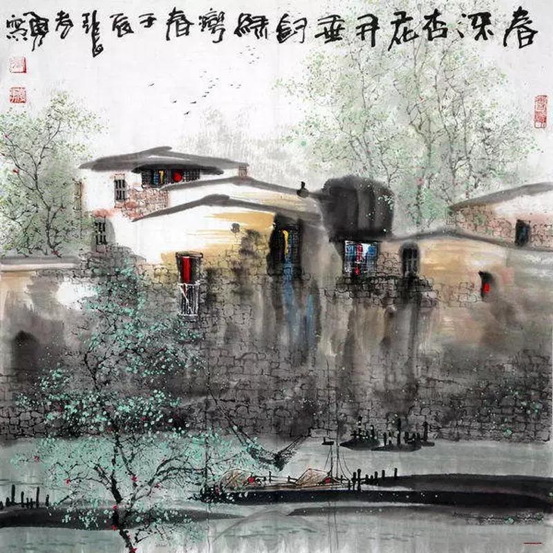 画家张孝勇山水画作品春深处