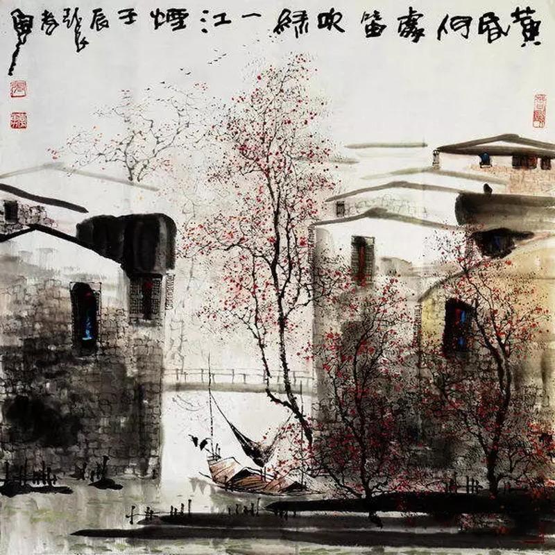 画家张孝勇山水画作品黄昏何处吹笛