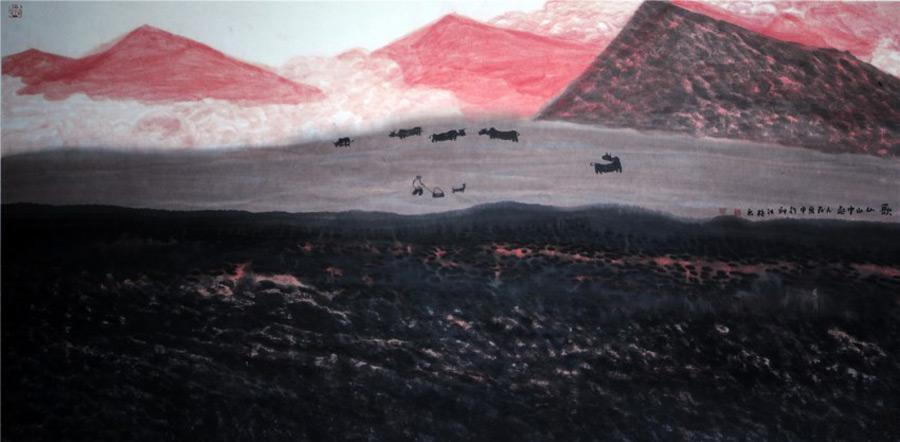 画家邱汉桥国画作品歌从山中起