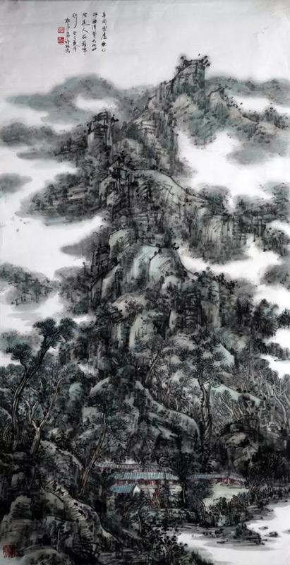 画家郭子昂山水画作品巅峰行旅图