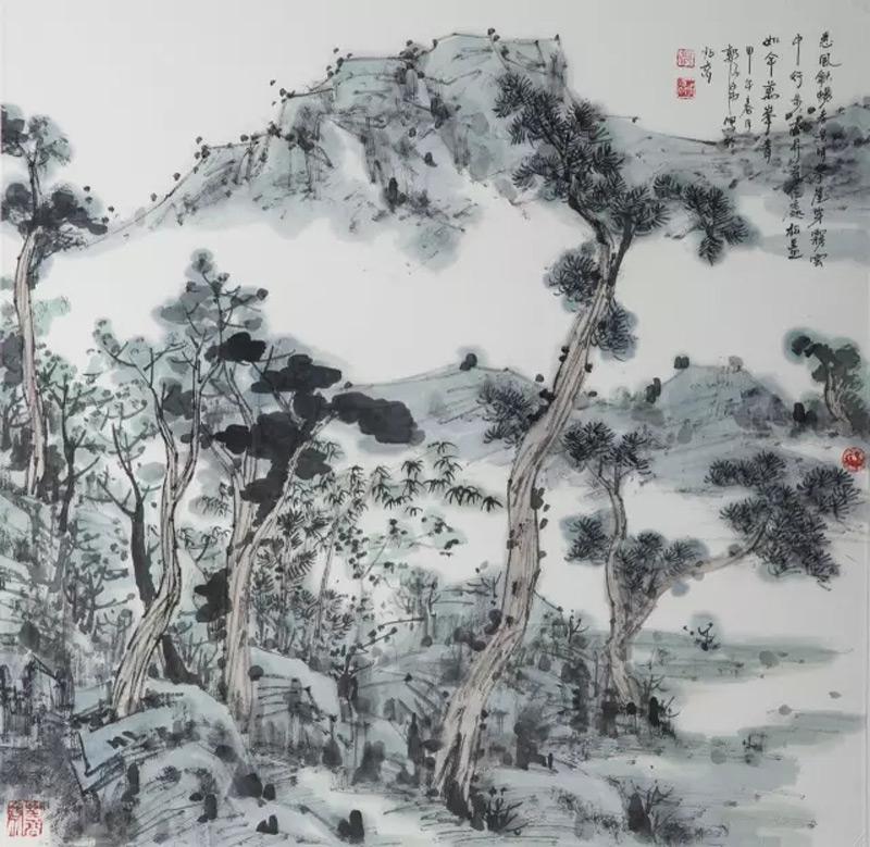 画家郭子昂山水画作品松盖如伞万峰青