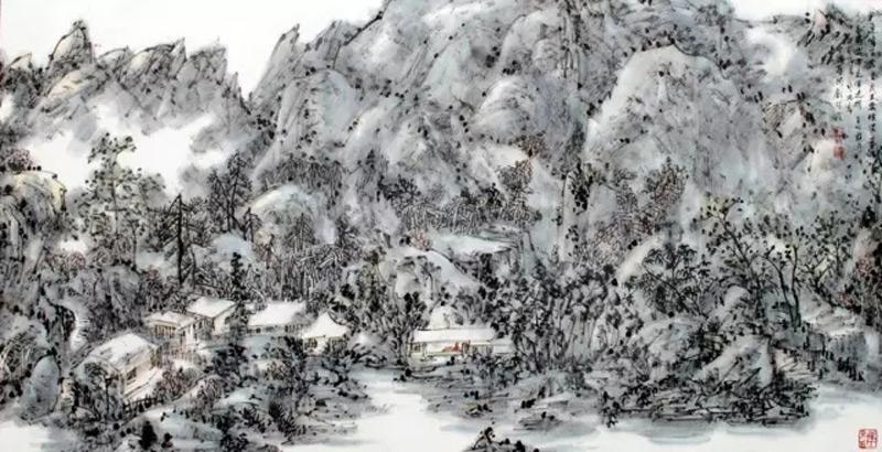 画家郭子昂山水画作品嵩岳春深
