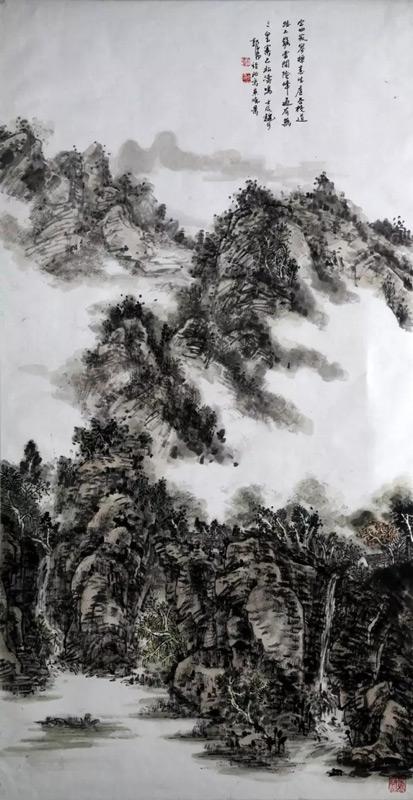 画家郭子昂山水画作品烟云锁少林