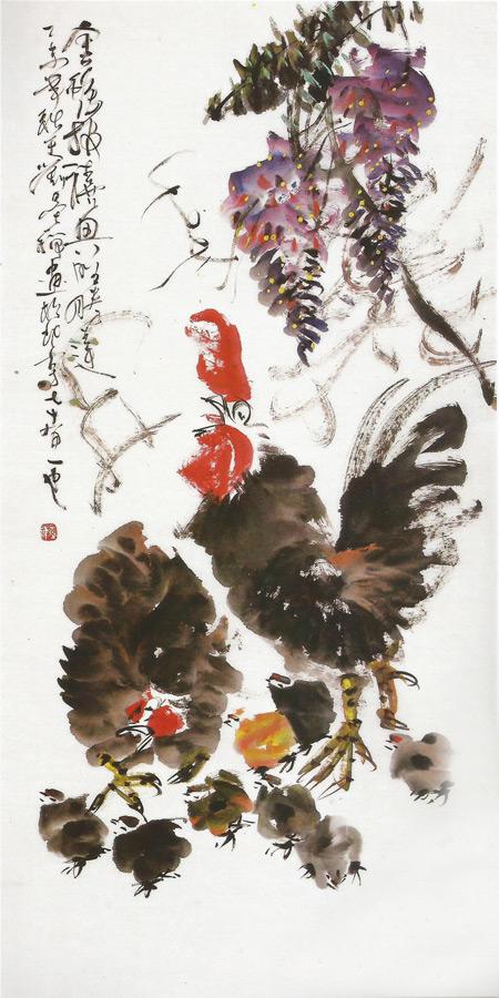 画家刘墨禅花鸟画作品金鸡报喜