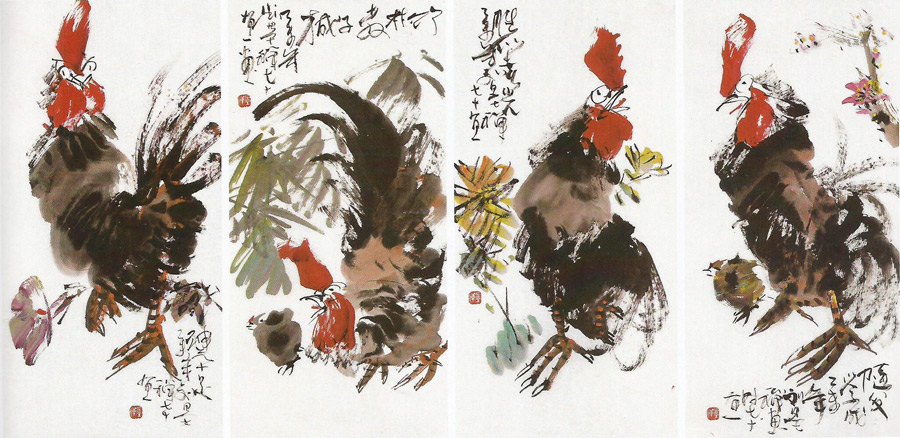 画家刘墨禅花鸟画作品金鸡报喜四条屏