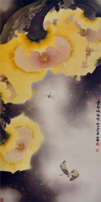 画家贾大年《童年的回忆》花鸟画作品,规格136x68cm
