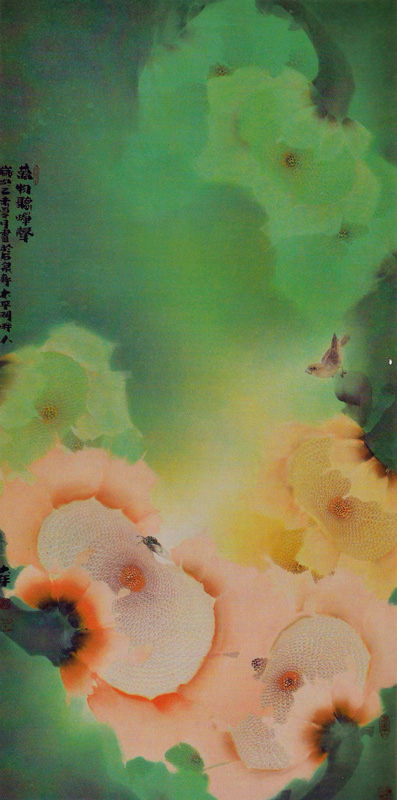 画家贾大年《万物听蝉声》花鸟画作品,规格136x68cm